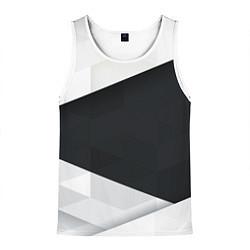 Майка-безрукавка мужская Чёрно-белый цвета 3D-белый — фото 1