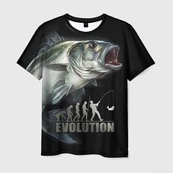 Футболка мужская Эволюция рыбалки цвета 3D — фото 1
