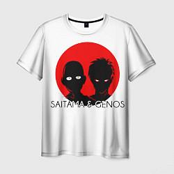 Мужская 3D-футболка с принтом Saitama & Genos, цвет: 3D, артикул: 10102410203301 — фото 1