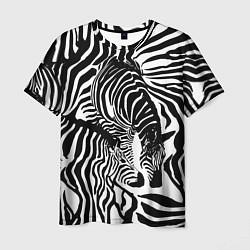 Футболка мужская Полосатая зебра цвета 3D-принт — фото 1