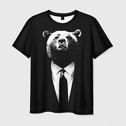 Футболка мужская Медведь бизнесмен цвета 3D-принт — фото 1