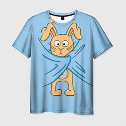 Мужская 3D-футболка с принтом Стеснительный кролик, цвет: 3D, артикул: 10130526203301 — фото 1