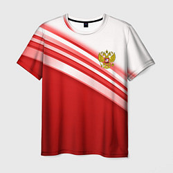 Футболка мужская Россия: красная волна цвета 3D — фото 1