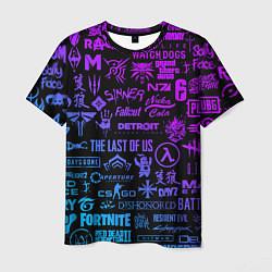 Мужская 3D-футболка с принтом Неоновые лого игр, цвет: 3D, артикул: 10173728303301 — фото 1