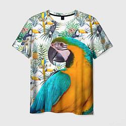 Мужская 3D-футболка с принтом Летний попугай, цвет: 3D, артикул: 10065274103301 — фото 1