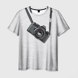 Футболка мужская Фотоаппарат на груди цвета 3D — фото 1