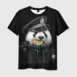 Футболка мужская Панда с карамелью цвета 3D — фото 1