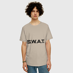 Футболка оверсайз мужская S.W.A.T цвета миндальный — фото 2