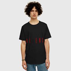 Мужская удлиненная футболка с принтом ALIENS, цвет: черный, артикул: 10010162605753 — фото 2