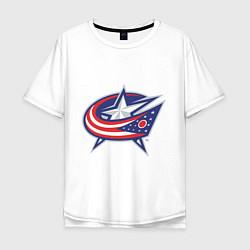 Мужская удлиненная футболка с принтом Columbus Blue Jackets, цвет: белый, артикул: 10010709105753 — фото 1