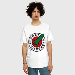 Футболка оверсайз мужская Planet Express цвета белый — фото 2