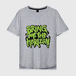 Мужская удлиненная футболка с принтом Bring me the horizon, цвет: меланж, артикул: 10013054305753 — фото 1
