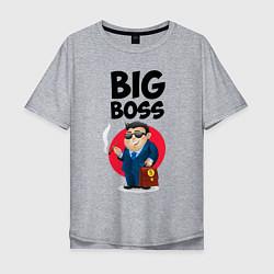 Футболка оверсайз мужская Big Boss / Начальник цвета меланж — фото 1