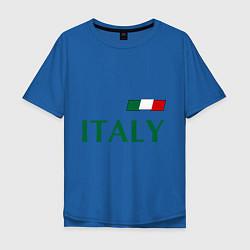 Мужская удлиненная футболка с принтом Сборная Италии: 1 номер, цвет: синий, артикул: 10014069705753 — фото 1
