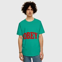 Футболка оверсайз мужская OBEY цвета зеленый — фото 2