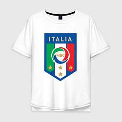 Мужская удлиненная футболка с принтом Italia FIGC, цвет: белый, артикул: 10153220905753 — фото 1