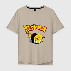 Мужская удлиненная футболка с принтом SushiMon, цвет: миндальный, артикул: 10015743805753 — фото 1