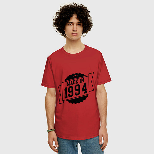 Мужская футболка оверсайз Made in 1994 / Красный – фото 3
