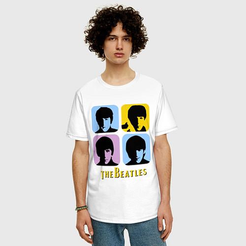 Мужская футболка оверсайз The Beatles: pop-art / Белый – фото 3