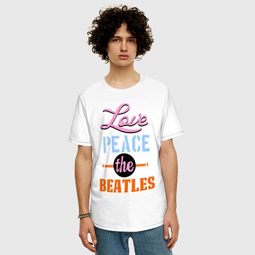 Мужская футболка оверсайз Love peace the Beatles / Белый – фото 3