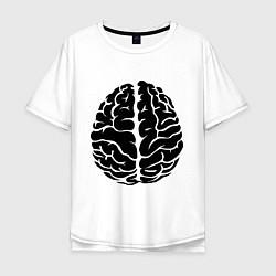 Футболка оверсайз мужская Он: мозг цвета белый — фото 1