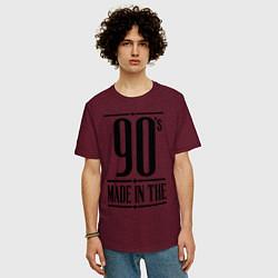 Футболка оверсайз мужская Made in the 90s цвета меланж-бордовый — фото 2
