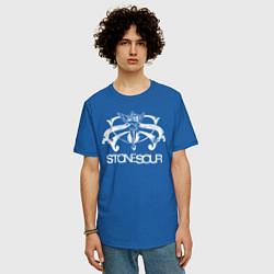 Футболка оверсайз мужская Stone Sour цвета синий — фото 2