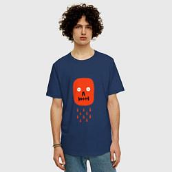 Футболка оверсайз мужская Кнопка психодел цвета тёмно-синий — фото 2