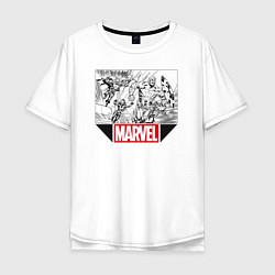 Мужская удлиненная футболка с принтом Marvel Prod, цвет: белый, артикул: 10178049705753 — фото 1