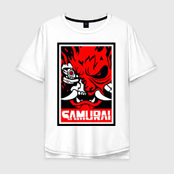 Футболка оверсайз мужская Cyberpunk 2077: Samurai Poster цвета белый — фото 1
