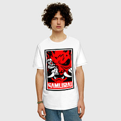 Футболка оверсайз мужская Cyberpunk 2077: Samurai Poster цвета белый — фото 2