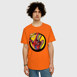 Футболка оверсайз мужская Spiderweb цвета оранжевый — фото 2