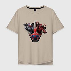 Футболка оверсайз мужская Venom, Carnage vs Spider-man цвета миндальный — фото 1