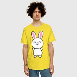 Мужская удлиненная футболка с принтом Милый зачик, цвет: желтый, артикул: 10018701505753 — фото 2