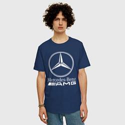 Футболка оверсайз мужская MERCEDES-BENZ AMG цвета тёмно-синий — фото 2