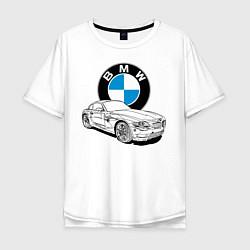 Футболка оверсайз мужская BMW цвета белый — фото 1