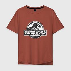 Футболка оверсайз мужская Jurassic World цвета кирпичный — фото 1