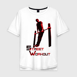Футболка оверсайз мужская Street Workout Выход Силой цвета белый — фото 1