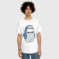 Футболка оверсайз мужская Акула в маске цвета белый — фото 2