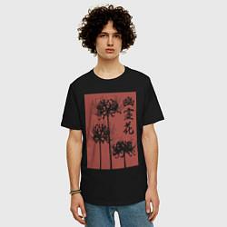 Футболка оверсайз мужская Призрачный цветок цвета черный — фото 2