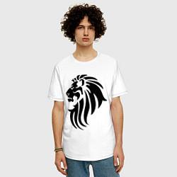 Мужская удлиненная футболка с принтом Лев тату, цвет: белый, артикул: 10036590005753 — фото 2