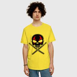 Футболка оверсайз мужская Череп ударник цвета желтый — фото 2