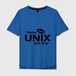 Футболка оверсайз мужская Make unix, not war цвета синий — фото 1