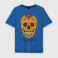 Футболка оверсайз мужская Мексиканский череп цвета синий — фото 1