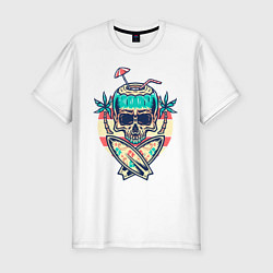 Футболка slim-fit Skull Summer цвета белый — фото 1