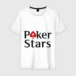 Футболка хлопковая мужская Poker Stars цвета белый — фото 1