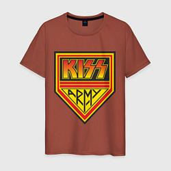 Футболка хлопковая мужская Kiss Army цвета кирпичный — фото 1