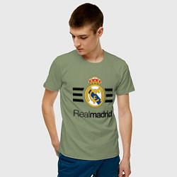 Футболка хлопковая мужская Real Madrid Lines цвета авокадо — фото 2