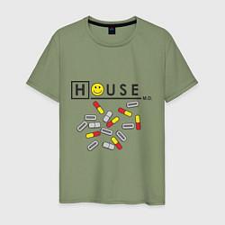 Футболка хлопковая мужская House M.D. Pills цвета авокадо — фото 1