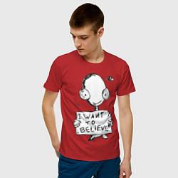 Футболка хлопковая мужская I want to believe цвета красный — фото 2